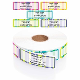 Bright Graphic Stripes Designer Assorted Rolled Address Labels with Elegant Plastic Dispenser