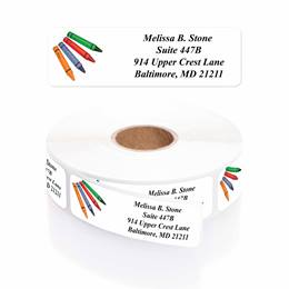 Creative Crayons Designer Rolled Address Labels with Elegant Plastic Dispenser