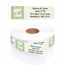 Tailored Green Elegance Designer Rolled Address Labels with Elegant Plastic Dispenser
