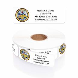 Army Designer Rolled Address Labels with Elegant Plastic Dispenser