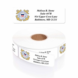 Coast Guard Designer Rolled Address Labels with Elegant Plastic Dispenser