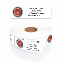 Marines Designer Rolled Address Labels with Elegant Plastic Dispenser