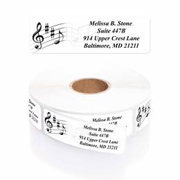 Musical Scale Designer Rolled Address Labels with Elegant Plastic Dispenser