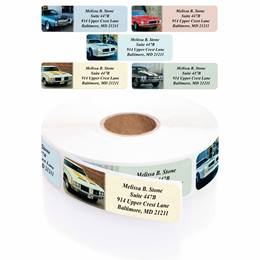 Muscle Cars Designer Assorted Rolled Address Labels with Elegant Plastic Dispenser