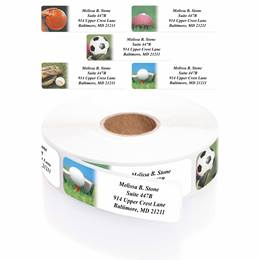 All Sports Assorted Designer Rolled Address Labels with Elegant Plastic Dispenser