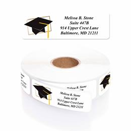 Cap & Tassel Personalized Designer Name & Address Labels with Elegant Plastic Dispenser