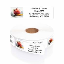 An Apple a Day Designer Rolled Address Labels with Elegant Plastic Dispenser