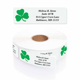Shamrock Designer Rolled Address Labels with Elegant Plastic Dispenser