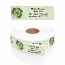 Lucky Clover Designer Rolled Address Labels with Elegant Plastic Dispenser