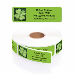 Lots of Irish Luck Designer Rolled Address Labels with Elegant Plastic Dispenser