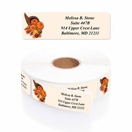 Bountiful Autumn Designer Rolled Address Labels with Elegant Plastic Dispenser