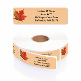 Vibrant Foliage Designer Rolled Address Labels with Elegant Plastic Dispenser