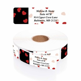 Black & Red Valentine Designer Rolled Address Labels with Elegant Plastic Dispenser