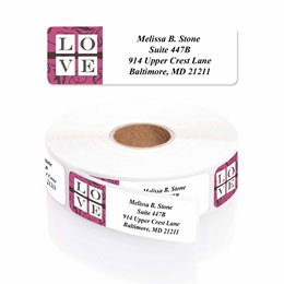 Lush Love Designer Rolled Address Labels with Elegant Plastic Dispenser