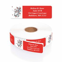 Love Letters Designer Rolled Address Labels with Elegant Plastic Dispenser