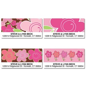 Shades of Floral Pink Assorted Sheeted Address Labels