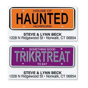 Trick or Treat License Plates Assorted Sheeted Address Labels