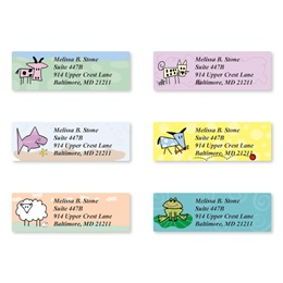 Doodle Zoo Assorted Sheeted Address Labels