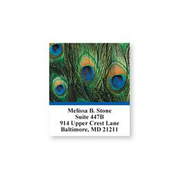 Peacock Feathers Blue Trim Sheeted Address Labels