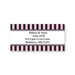 Parisian Pink & Black Stripes Sheeted Address Labels