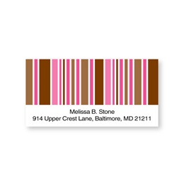Pink & Brown Stripes Sheeted Address Labels
