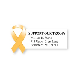Support Our Troops Awareness Ribbon Diecut Sheeted Address Labels