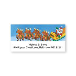 Santa on a Reindeer Sleigh Sheeted Address Labels