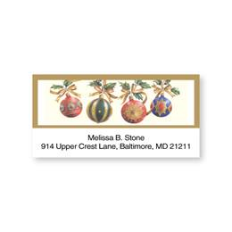 Gold Trim Holiday Ornaments Sheeted Address Labels