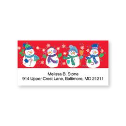 Snowmen Holiday Quartet Sheeted Address Labels