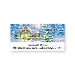 Snowy Country Cottage Sheeted Address Labels