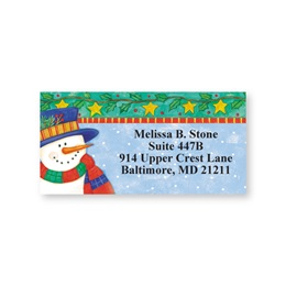 Snowman & Stars Sheeted Address Labels
