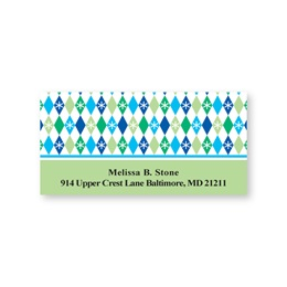Blue & Green Holiday Diamonds Sheeted Address Labels