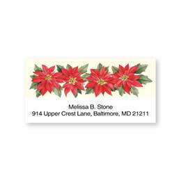 Poinsettia Quartet Sheeted Address Labels