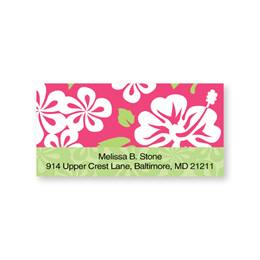Hawaiian Pink & Green Sheeted Address Labels