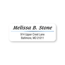 Blue Foil Accent Line on White Sheeted Address Labels