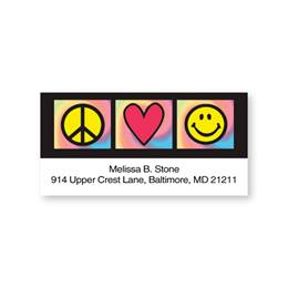 Peace-Heart-Smiley Signs Sheeted Address Labels
