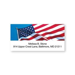 Blue, Red & White Flag Personalized Sheeted Name & Address Labels