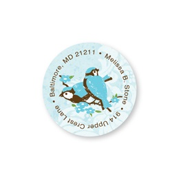 Blue Birds in Springtime Round Sheeted Address Labels