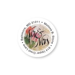 Mr. and Mrs. Romance Round Sheeted Address Labels