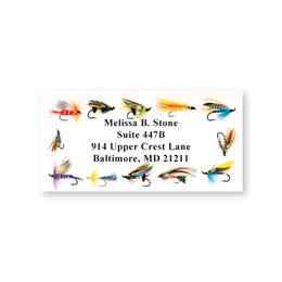 Flashy Fishing Flies Sheeted Address Labels