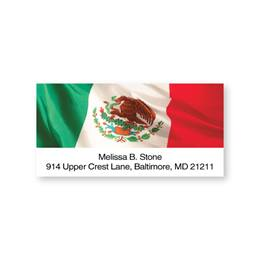 Mexican Tricolor Flag Sheeted Address Labels