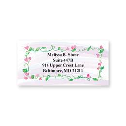 Pink Hearts and Green Vines Sheeted Address Labels