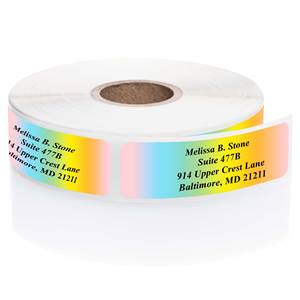 Cascading Rainbow Colors Rolled Address Labels