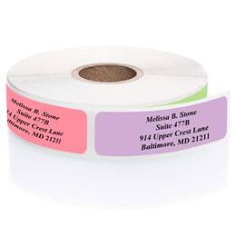 Rainbow-Colored Assorted Rolled Address Labels