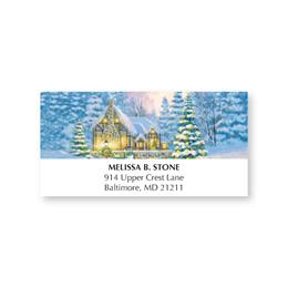 Warm Winter Cottage Holiday Address Labels