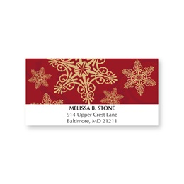 Golden Snowflakes Regal Holiday Address Labels