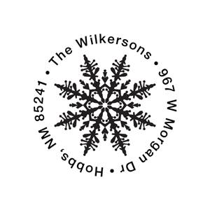 Stylish Snowflake Name & Address Stamp with Colored Ink