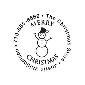 Merry Christmas Snowpeople Self-Inking Name & Address Stamp