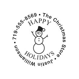 Happy Holidays Snowpeople Self-Inking Name & Address Stamp