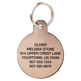 Solid Brass Circle Shape Pet Tag